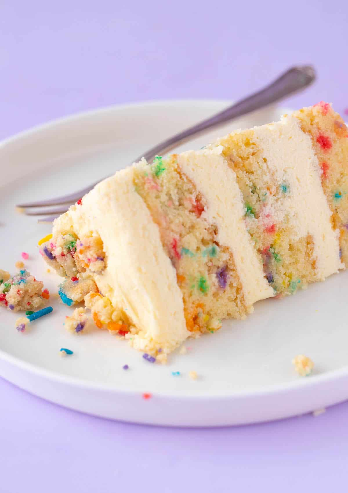 A piece of funfetti cake sitting on a white plate.