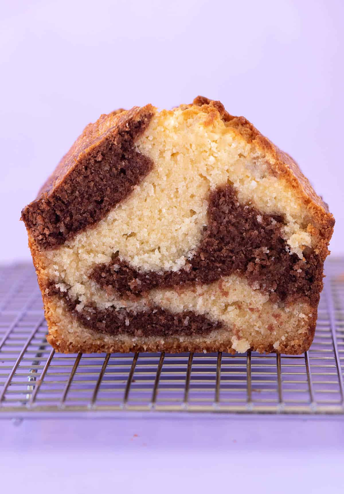 Close up of a beautiful Marble Cake on a purple background.