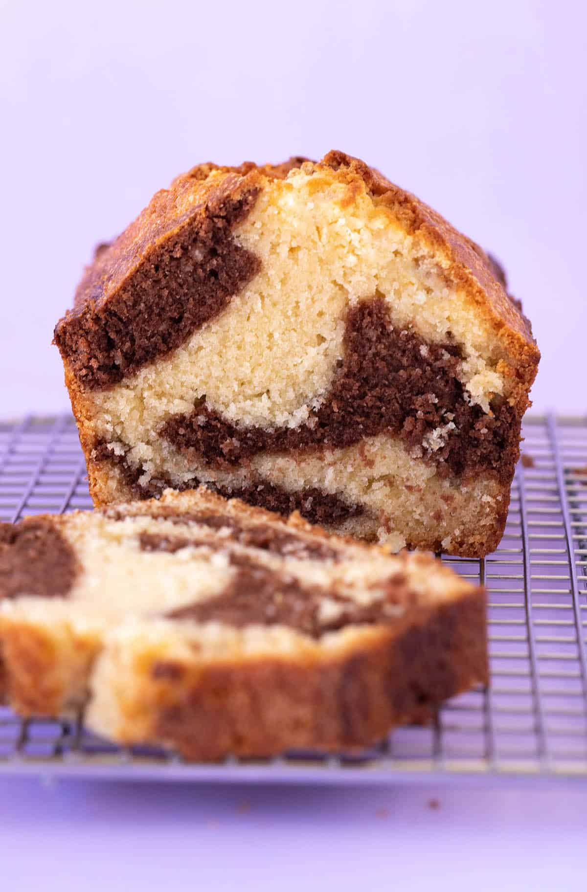 A Marble Loaf Cake cut into thick slices.