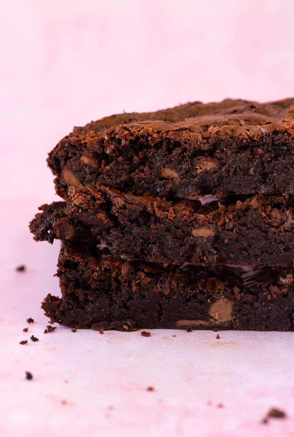 The fudgy middle of a stack of Small Batch Brownies