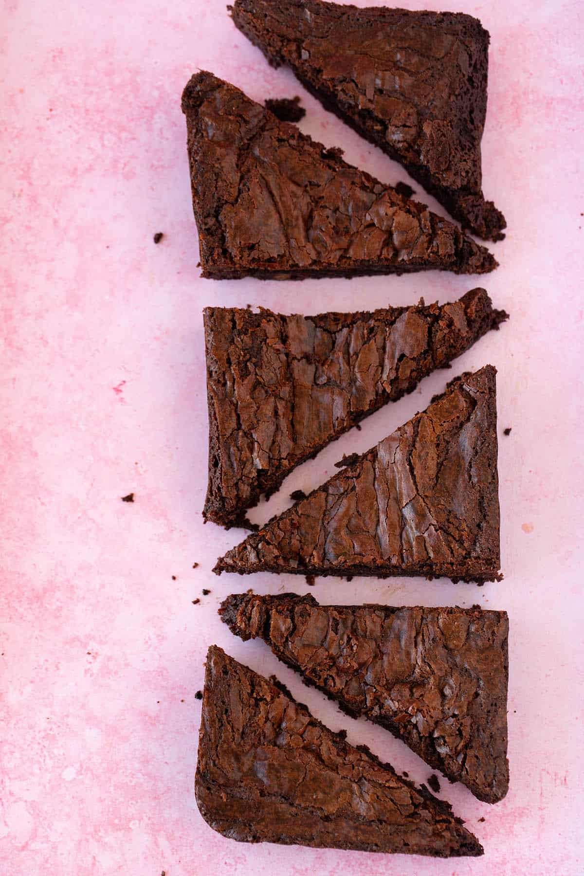 Top view of a Small Batch Brownie sliced into six pieces