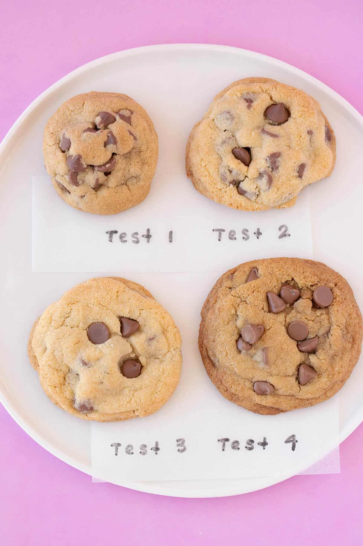 Testing of different cookie recipes. Four different chocolate chip cookies on a white plate.