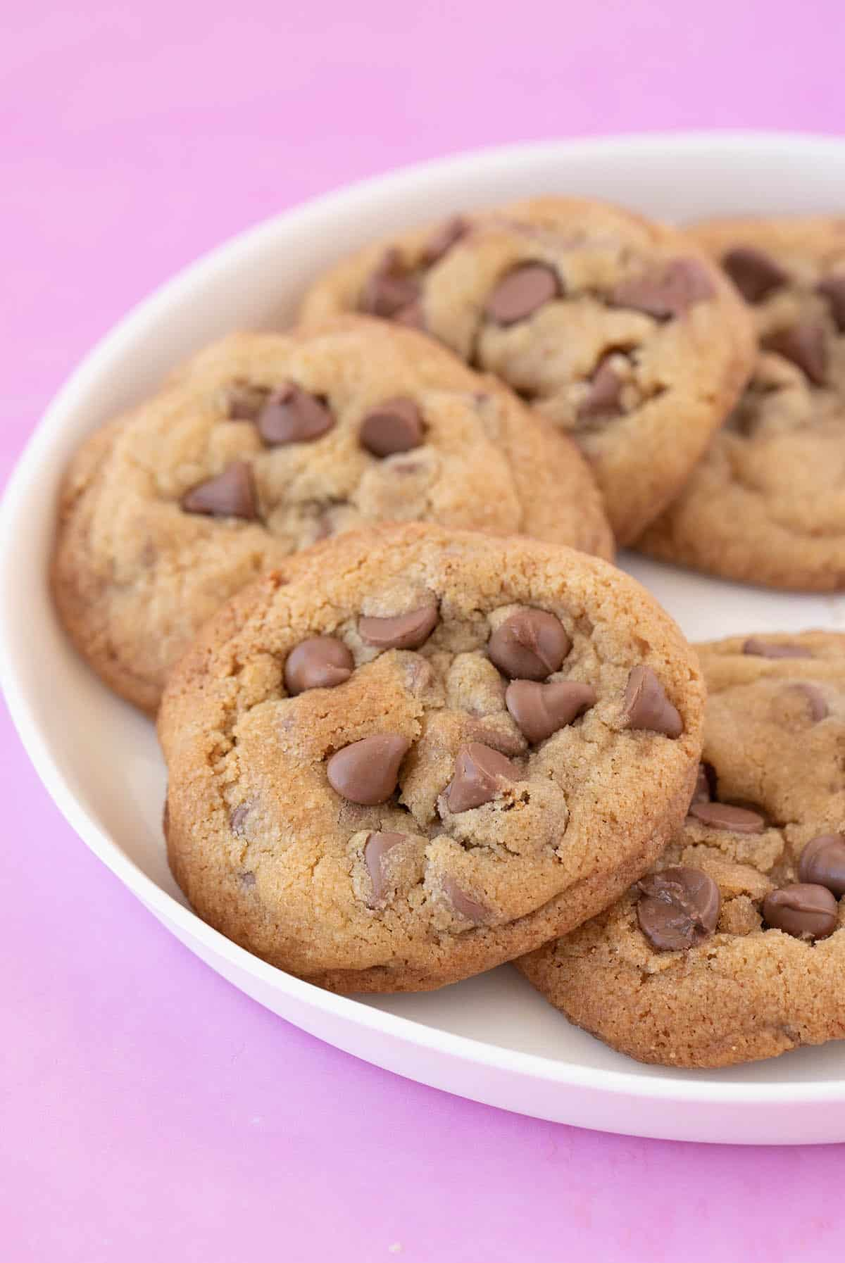 A white plate filled with chocolate chip cookies