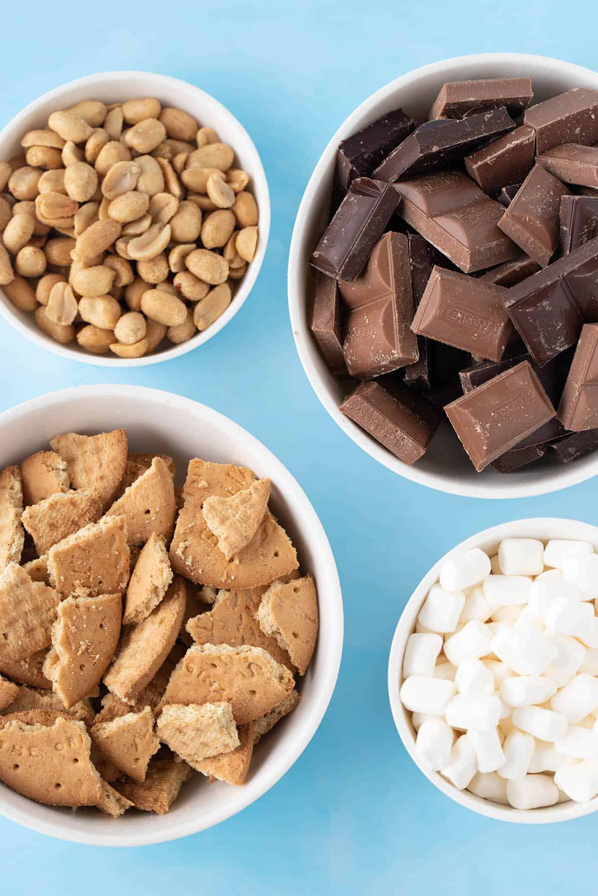 Overhead shot of the ingredients needed for Smores Rocky Road