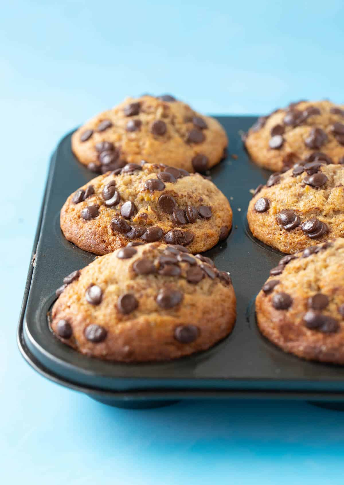Small Batch Banana Muffins decorated with chocolate chips