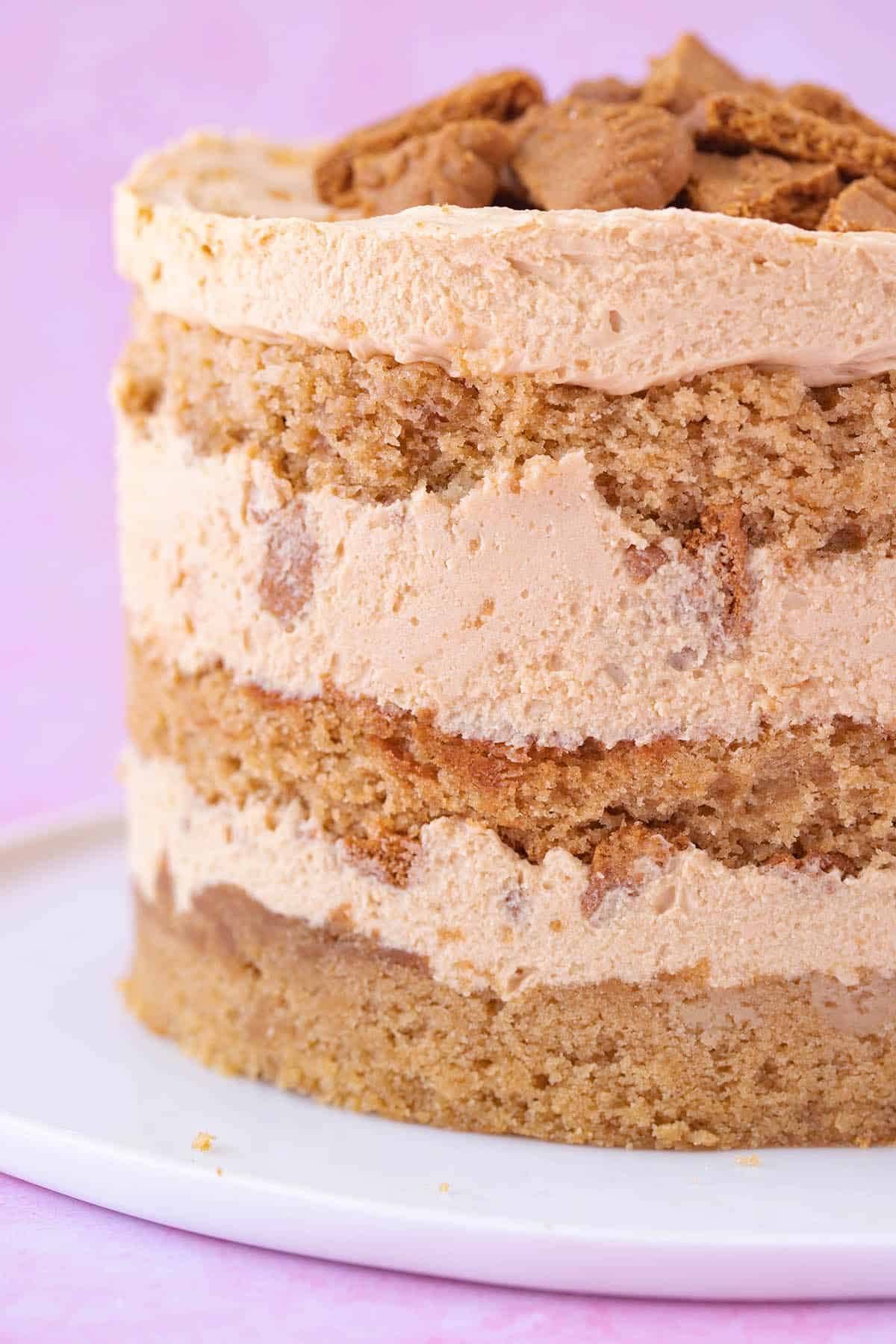 Close up of the layers of a Milk Bar-style Biscoff Cake