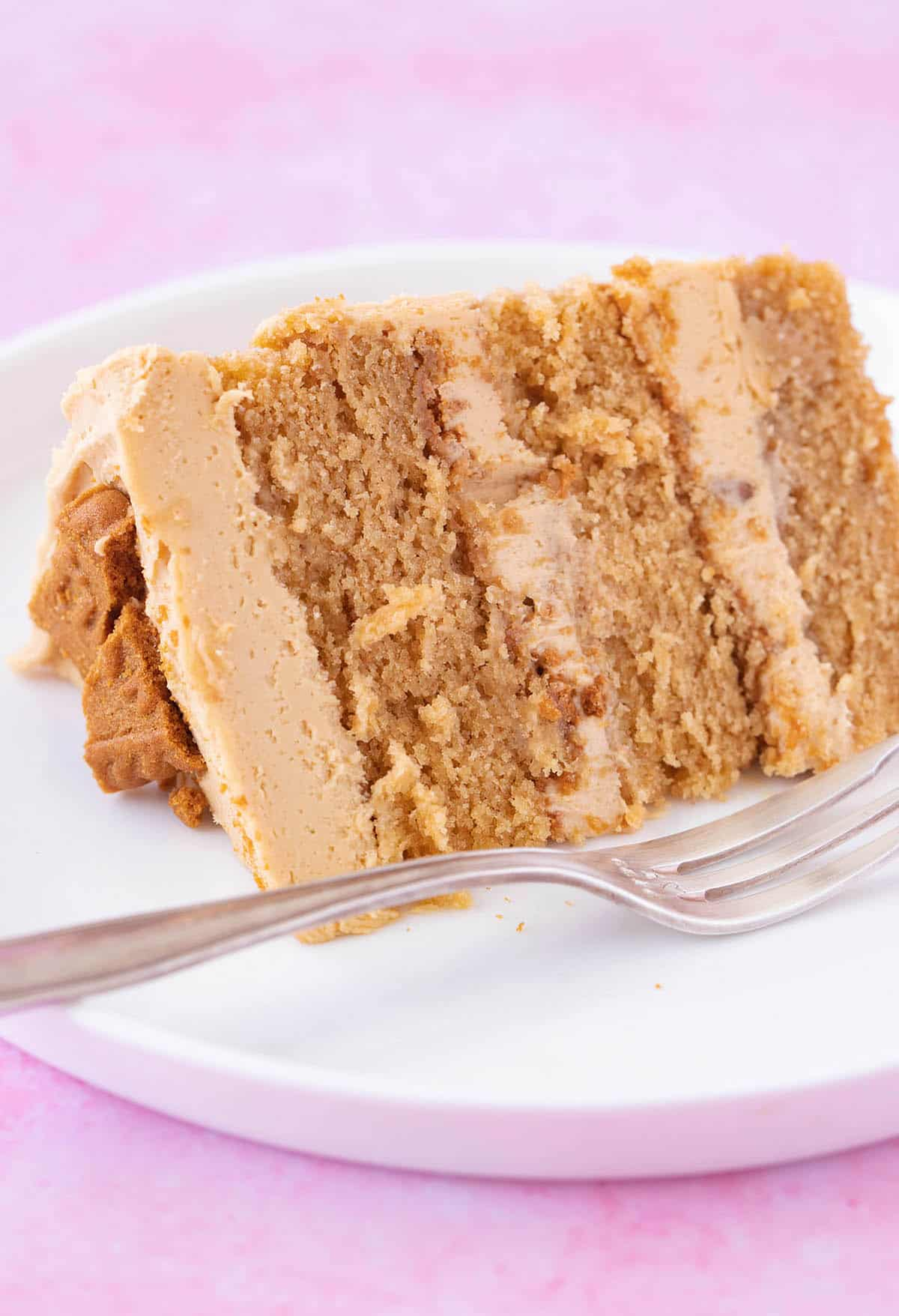 Close up of a slice of Biscoff Cake on a white plate