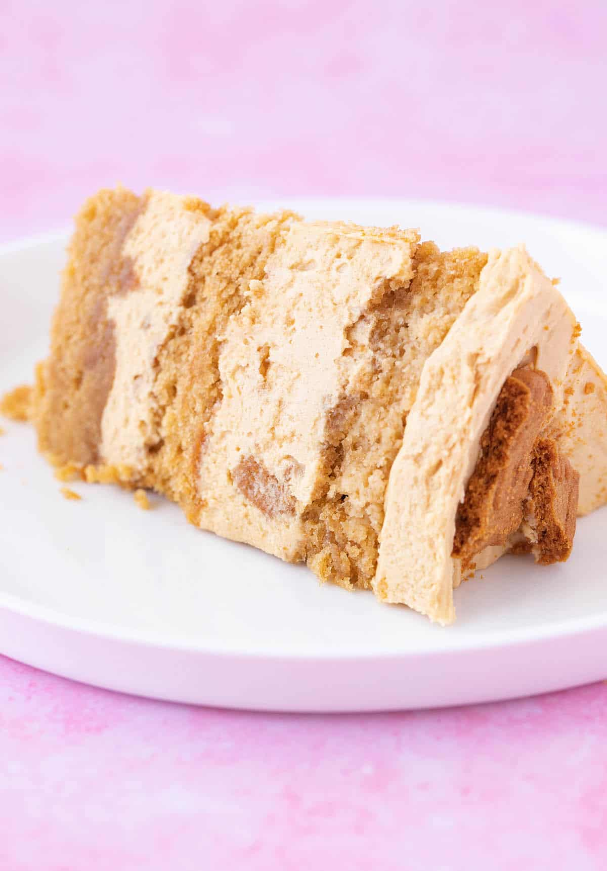 A slice of cake showing the layers of Biscoff frosting.